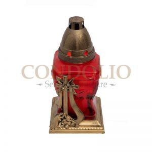 candela sticla rosie cn 13 cu capac